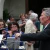 Auf dem Kirchplatz werden die Festbesucher von der Stadtharmonie Eintracht Töss musikalisch empfangen