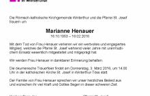 Todesanzeige für Marianne Henauer